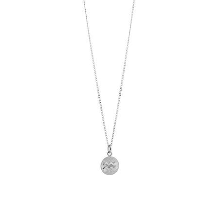 Aquarius Zodiac Pendant in Sterling Silver