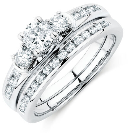 Bridal Set with 1 Carat TW of Diamonds in 10ct White Gold