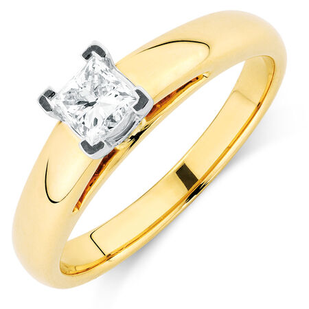 Certified Solitaire Engagement Ring with a 0.45 Carat Diamond in 14ct Yellow & White Gold