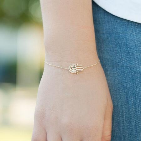 "19cm (7.5"") Hamsa Hand Bracelet in 10ct Yellow Gold"