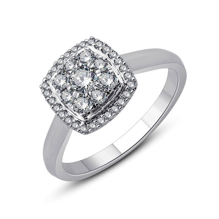 Cluster Ring with 0.54 Carat TW of Diamonds in 10ct White Gold