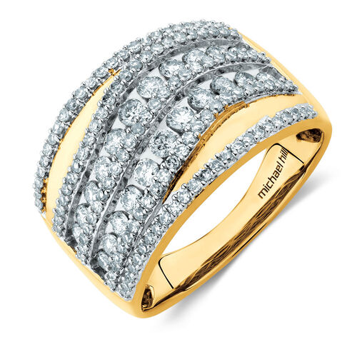 Wave Diamond Ring in With 1 Carat TW of Diamonds 10ct Yellow Gold