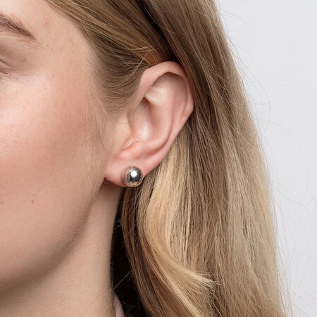 Patterned Ball Stud Earrings in 10ct White Gold