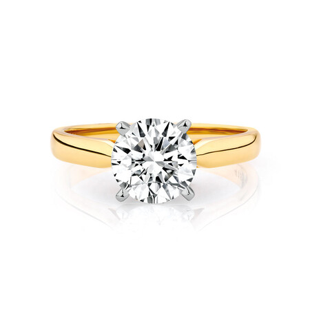 Solitaire Engagement Ring with 1 1/2 Carat Diamond in 14ct Yellow & White Gold