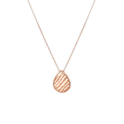 Patterned Pear Pendant in 10ct Rose Gold