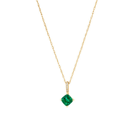 Pendant with Created Emerald & Diamonds in 10ct Yellow Gold