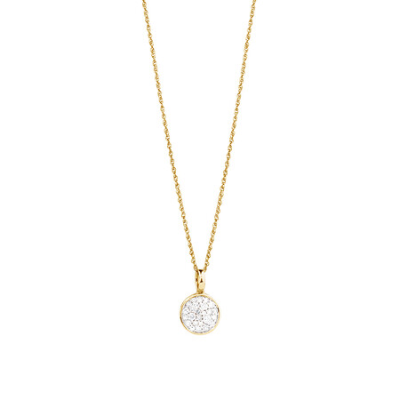 Pave Circle Pendant with 0.19 Carat TW of Diamonds in 10ct Yellow Gold