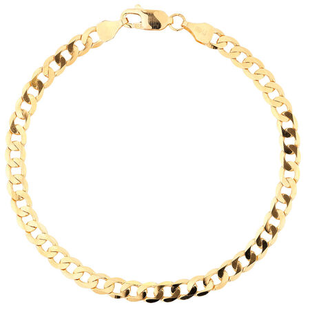 "19cm (7.5"") Curb Bracelet in 10ct Yellow Gold"