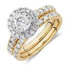 Bridal Set with 1 1/2 Carat TW of Diamonds in 14ct Yellow & White Gold