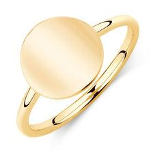 Plain Circle Mini Signet Ring In 10ct Yellow Gold