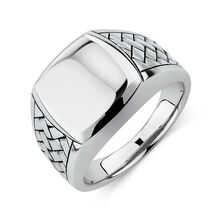 Men's Patterned Signet Ring In Sterling Silver