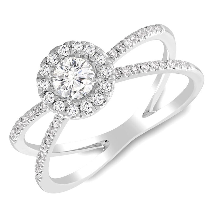 Ring with 0.55 Carat TW of Diamonds in 10ct White Gold