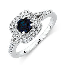 Michael Hill Designer Ring With Sapphire & 1/2 Carat TW Of Diamonds In 10ct White & Rose Gold