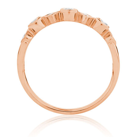 Wedding Band with 1/4 Carat TW of Diamonds in 10ct Rose Gold