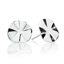 Wave Patterned Stud Earrings in Sterling Silver