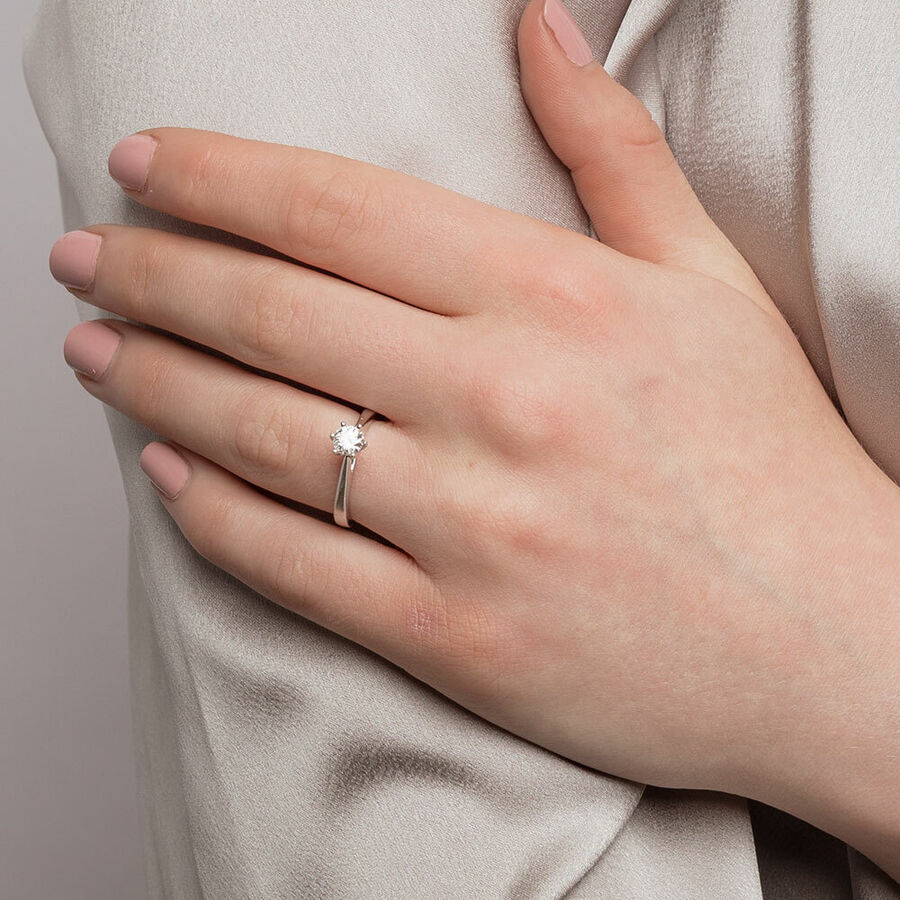 Bridal Solitaire Ring with 0.50 Carat TW of Diamonds in 14ct White Gold