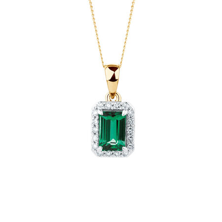 Pendant with Created Emerald and Diamonds in 10ct Yellow Gold