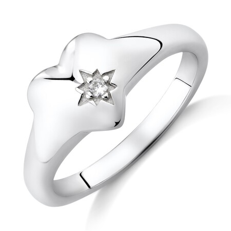 Heart Signet Ring with Cubic Zirconia In Sterling Silver
