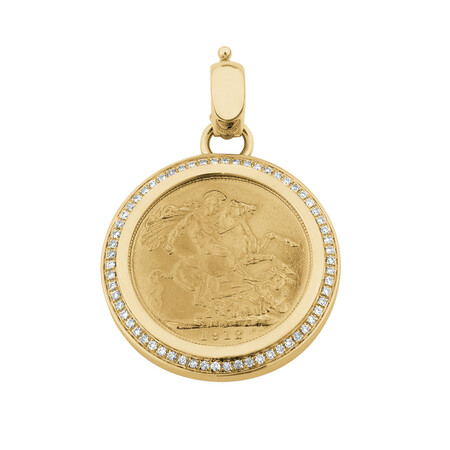 Full Sovereign Pendant with 0.30 Carat TW of Diamonds in 10ct & 22ct Yellow Gold