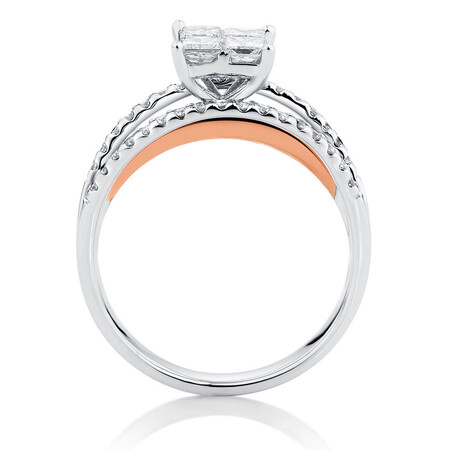 Online Exclusive - Engagement Ring with 1 Carat TW of Diamonds in 14ct White & Rose Gold