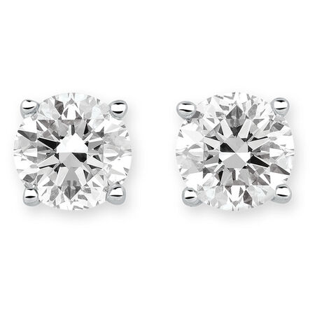 Stud Earrings with 2 Carat TW of Diamonds in 18ct White Gold