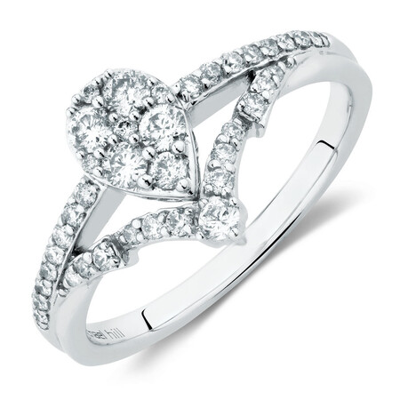 Engagement Ring With 0.45 Carat TW of Diamonds In 10ct White Gold