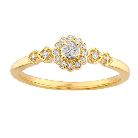 Ring with 0.15 Carat TW of Diamonds in 10ct Yellow Gold