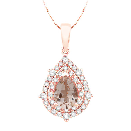 Pendant with Morganite and Diamond in 10ct Rose Gold