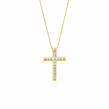 Cross Pendant in 10ct Yellow Gold With 1/2 Carat TW of Diamonds