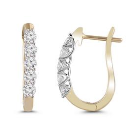 Huggie Earrings with Diamonds in 10ct Yellow Gold