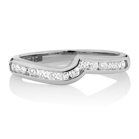 Wedding Band with 0.33 Carat TW of Diamonds in 18ct White Gold