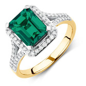 Ring with Created Emerald & 1/3 Carat TW of Diamonds in 10ct Yellow & White Gold