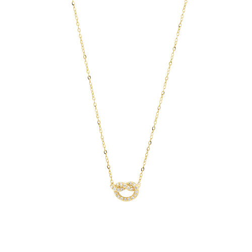 Mini Knots Necklace with 0.10 Carat TW of Diamonds in 10ct Yellow Gold