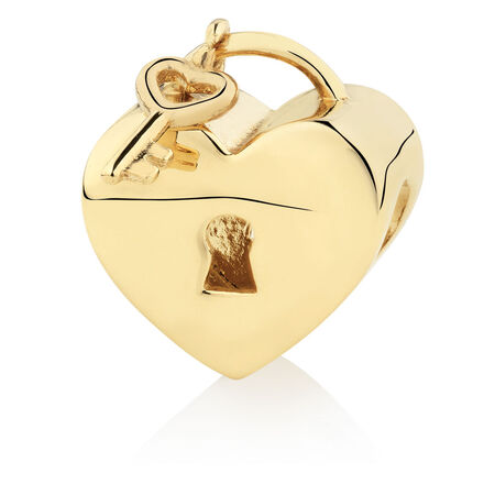 Heart Locket & Key Charm in 10ct Yellow Gold