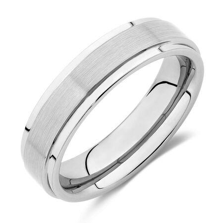 6mm Men's Ring in Grey Tungsten