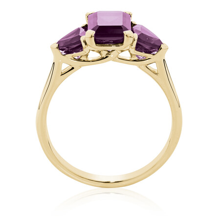 Ring with Created Ruby in 10ct Yellow Gold