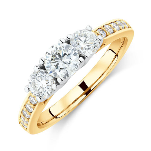 Three Stone Engagement Ring with 1 Carat TW of Diamonds in 14ct Yellow & White Gold
