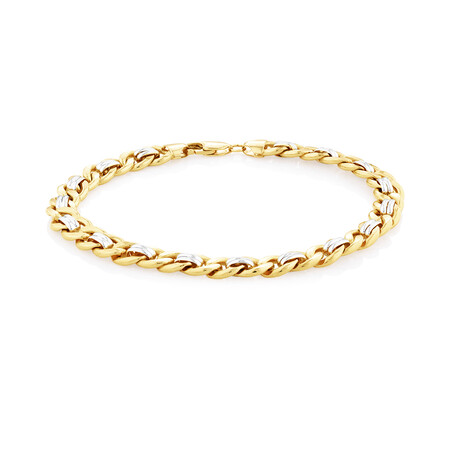 "23cm (9.5"") Bracelet in 10ct Yellow & White Gold"