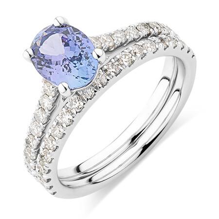 Bridal Set with 0.69 Carat TW of Diamonds & Tanzanite in 14ct White Gold