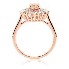 Ballerina Ring with 0.75 Carat TW of Diamonds & Morganite in 10ct Rose Gold