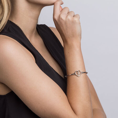 Infinitas Bangle with Diamonds in Sterling Silver