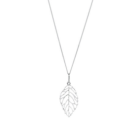 Leaf Pendant in 10ct White Gold