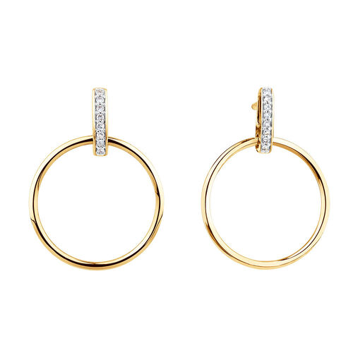 Circle Bar Drop Earrings With Diamonds In 10ct Yellow Gold