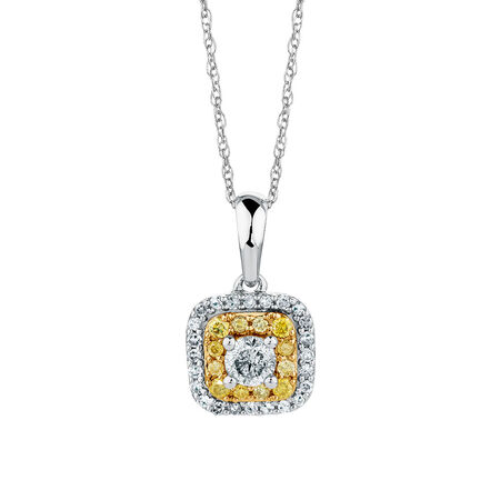 Pendant with a 1/3 Carat TW of Yellow & White Diamonds in 10ct Yellow & White Gold