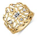 Filigree Ring in 10ct Yellow & White Gold
