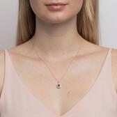 Michael Hill Designer Pendant With Sapphire & 0.20 Carat TW Of Diamonds In 10ct White & Rose Gold