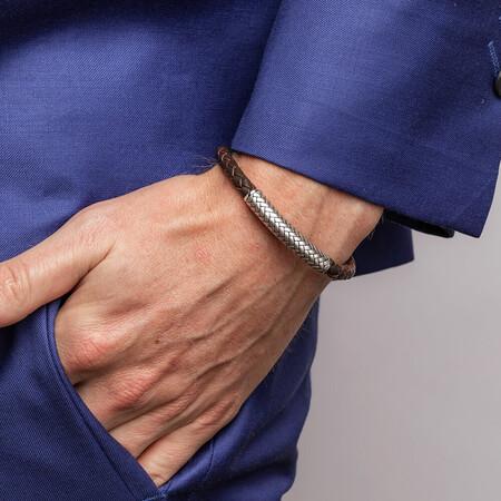 Men's Weave Pattern Bracelet In Brown Leather & Sterling Silver