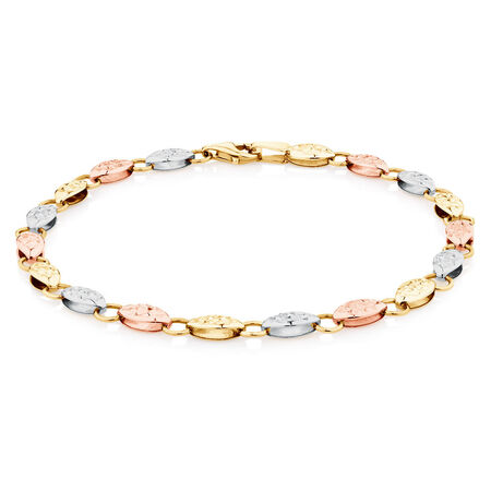 "19cm (7.5"") Fancy Bracelet in 10ct Yellow, White & Rose Gold"