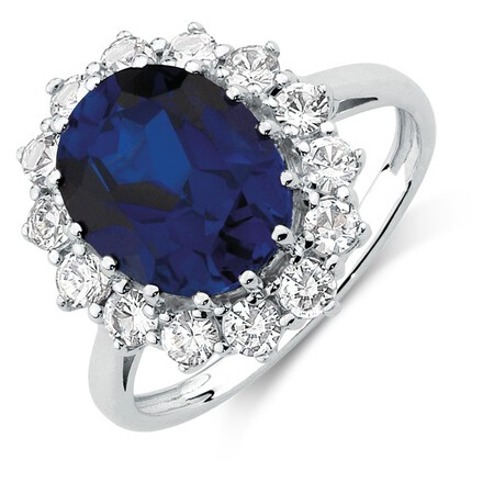 Blue & White Created Sapphire Ring in Sterling Silver