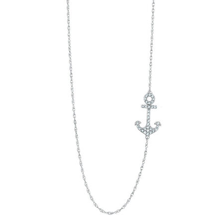 Anchor Pendant with 0.20 Carat TW of Diamonds in Sterling Silver